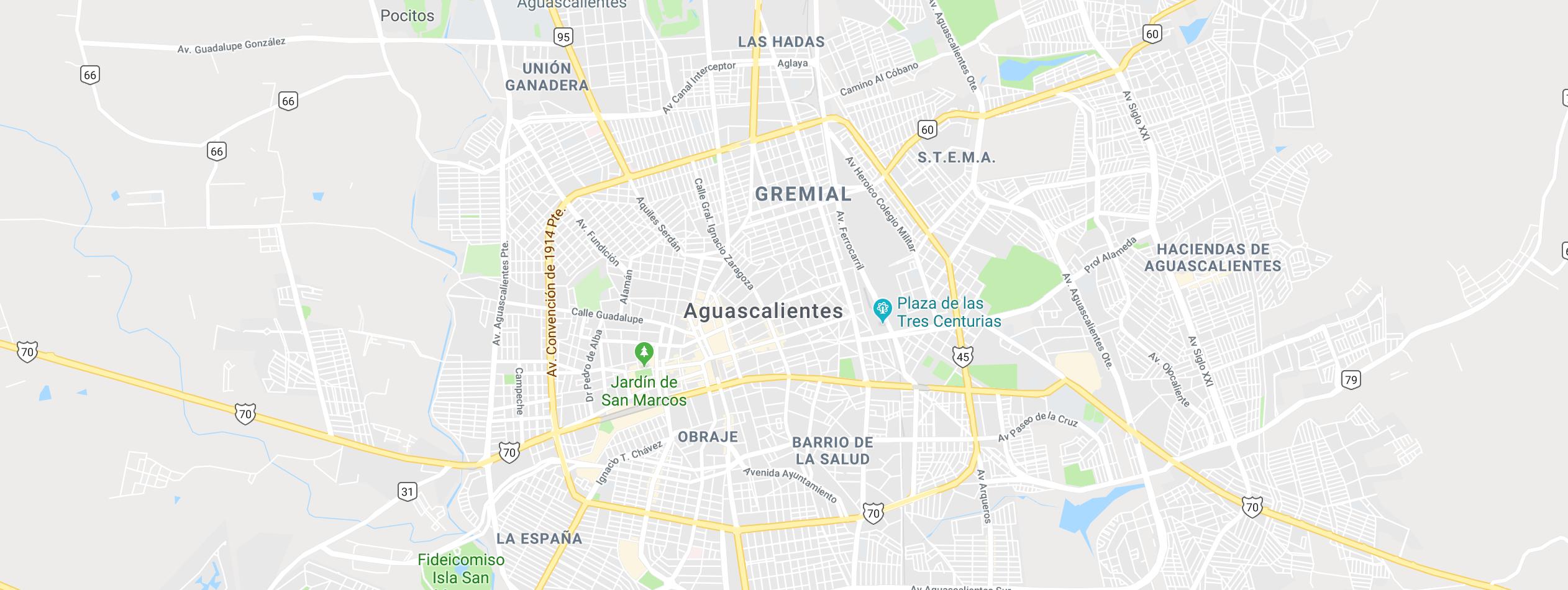 O - Mapa de Aguascalientes